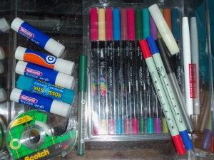 Glue sticks and pens