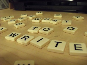 "Bananagrams letters, ""What to write?"""