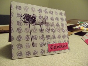 Handmade card with flower stamp