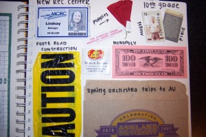 Scrapbook memorabilia; game pieces, ID card, caution tape