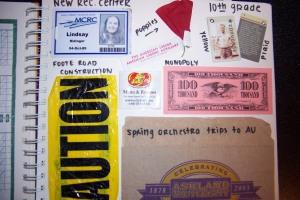 Scrapbook memorabilia; game pieces, ID card, caution tape