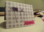 Purple handmade birthday card with flower stamp