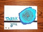 blue handmade thank you card