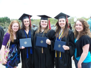 Allison, Aubrey, Stephanie, Carrie and I outside the MACC after graduation, May 7