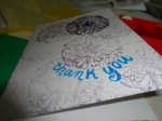 handmade thank you card, blue
