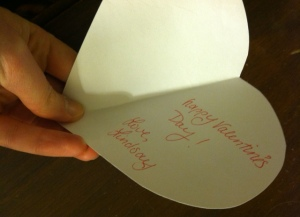 "folded heart card: ""Happy Valentine's Day! Love, Lindsay"""
