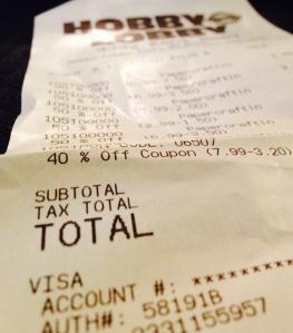 Hobby Lobby receipt